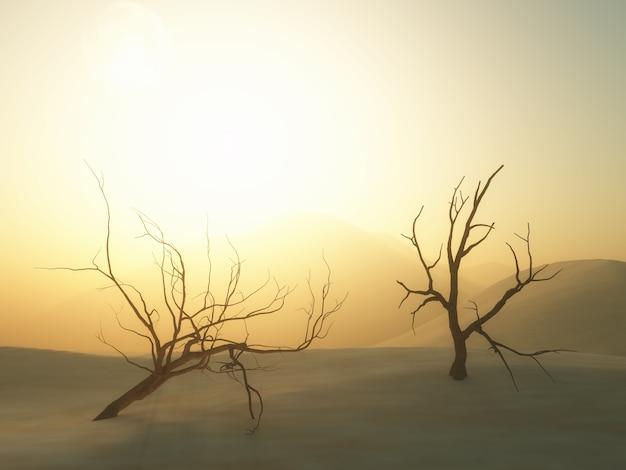 Árvores mortas 3d na paisagem do deserto Foto gratuita