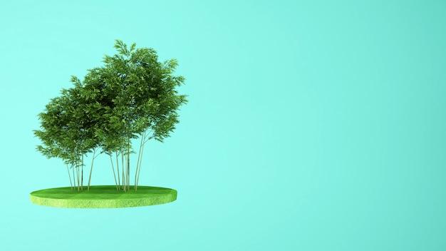 Árvores no prado na ilha Foto Premium