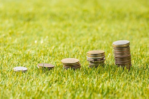 As colunas de moedas na grama Foto gratuita