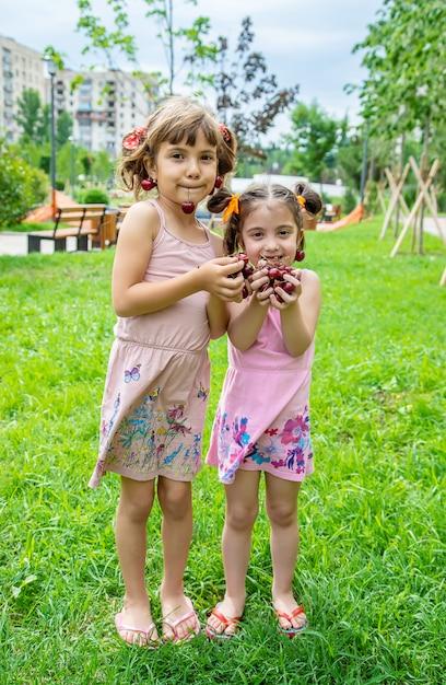 As crianças comem cerejas no verão Foto Premium