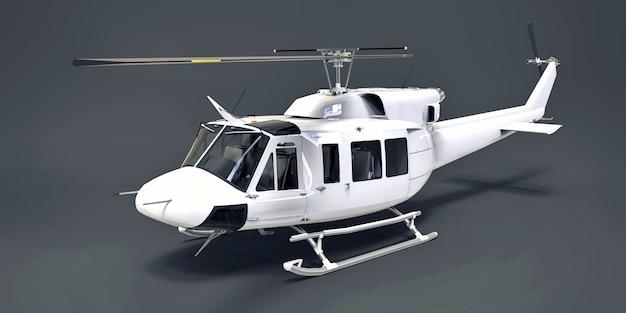 As forças armadas pequenas brancas transportam o helicóptero no fundo isolado cinza. o serviço de resgate de helicóptero. táxi aéreo. helicóptero para polícia, bombeiros, ambulância e serviço de resgate. ilustração 3d Foto Premium