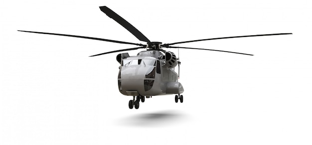 As forças armadas transportam ou salvam o helicóptero no espaço em branco. ilustração 3d Foto Premium