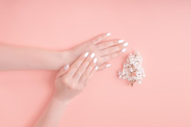 As mãos da beleza de uma mulher com flores brancas encontram-se na tabela, fundo cor-de-rosa. produtos cosméticos naturais e cuidados com as mãos, hidratação e redução de rugas, cuidados com a pele Foto Premium