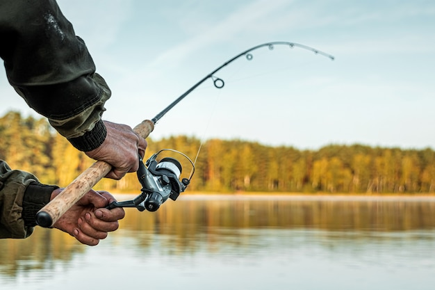 As mãos de um homem em um plano de urp seguram uma vara de pescar, um pescador pega peixe ao amanhecer Foto Premium