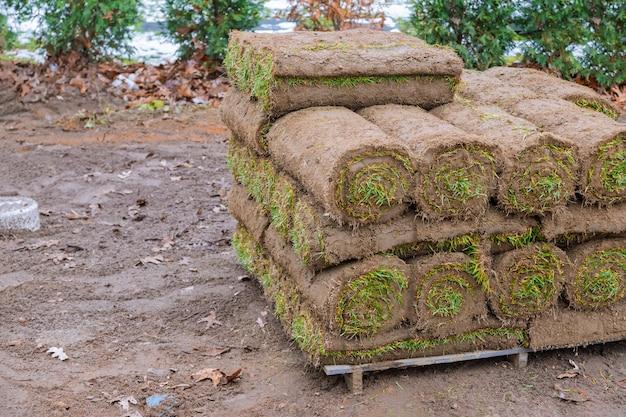 As modernas tecnologias de plantio de gramado em paisagismo rolam close-up, Foto Premium