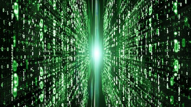 As partículas de matriz digitais abstratas fluem, conexão de dados de digitas, conceito da tecnologia. Foto Premium