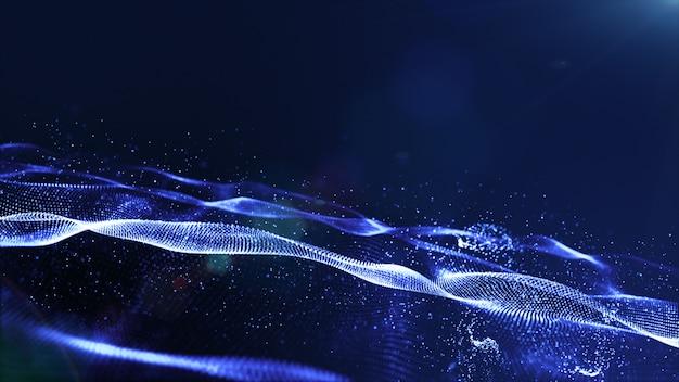 As partículas digitais da cor azul abstrata acenam com poeira e luz de fundo Foto Premium