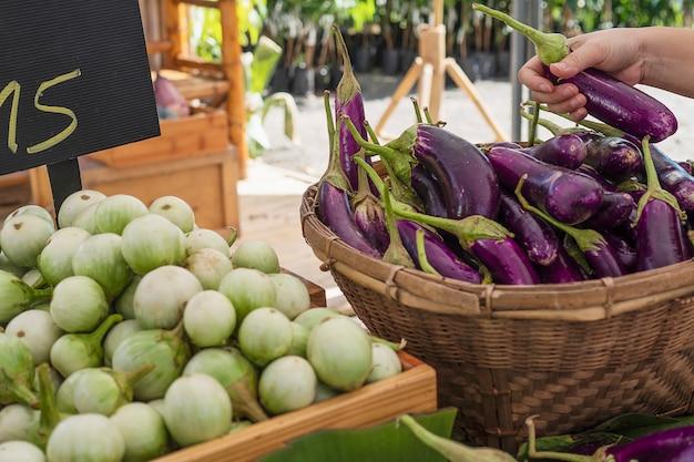 As pessoas compram berinjela fresca no mercado local - cliente no conceito de mercado de produtos hortícolas Foto gratuita