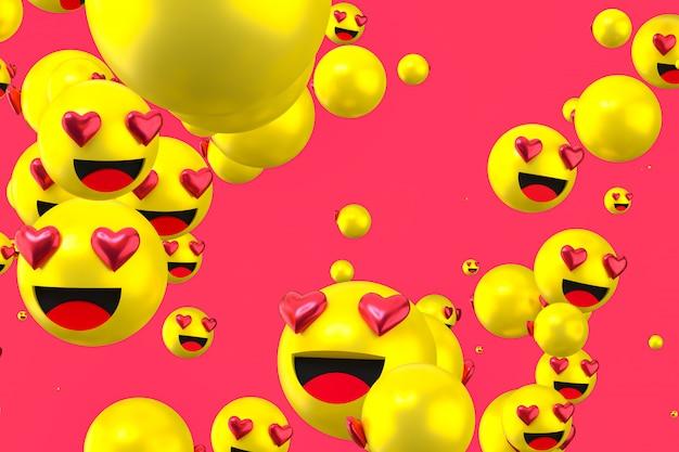 As reações do facebook amam emoji 3d render em fundo claro, símbolo de balão de mídia social com como Foto Premium