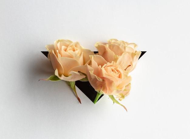As rosas sobressaem de um triângulo no fundo do livro branco. Foto Premium