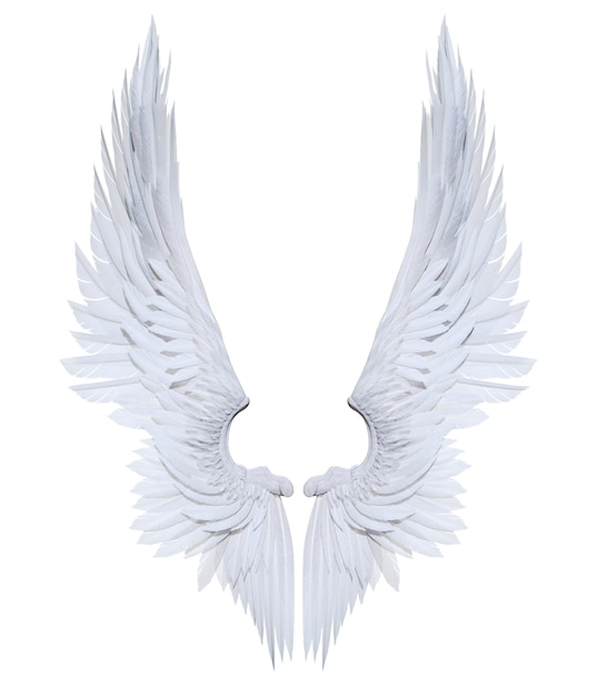 Asas de anjo de ilustração 3d, asa branca plumagem isolado no fundo branco Foto Premium