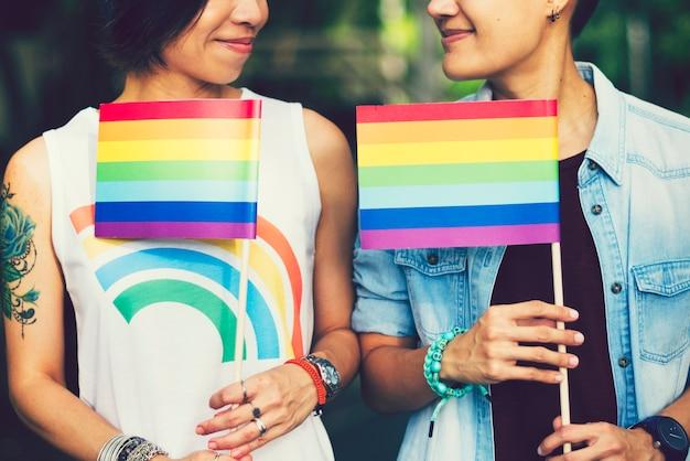 Asian lgbt casal apaixonado Foto Premium