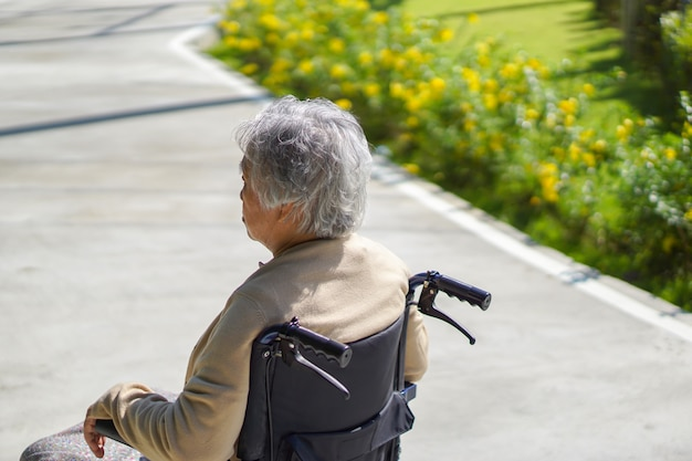 Asiático, sênior, ou, idoso, senhora velha, mulher, paciente, ligado, cadeira rodas, parque Foto Premium
