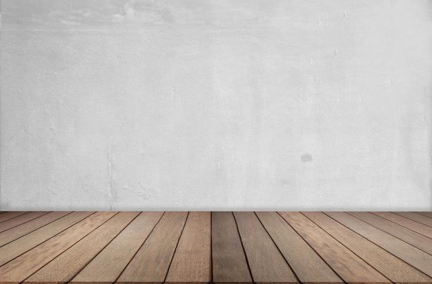 Assoalho e parede de madeira do cimento, sala vazia para o fundo. grande sala vazia em estilo grange com piso de madeira Foto Premium
