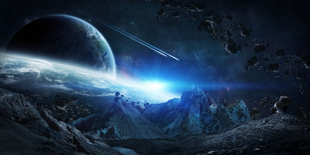 Asteroides gigantescos prestes a travar renderização 3d Foto Premium