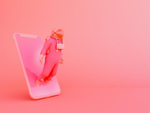 Astronauta com celular no fundo living coralcolor Foto Premium