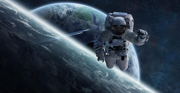 Astronauta flutuando no espaço 3d renderização de elementos Foto Premium