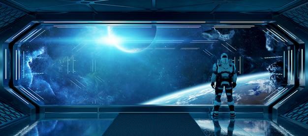 Astronauta na espaçonave futurista, observando o espaço através de uma grande janela elementos desta imagem fornecida pela nasa Foto Premium