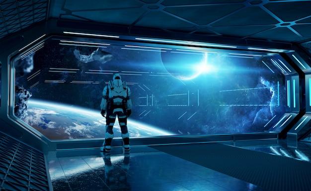 Astronauta na espaçonave futurista, observando o espaço através de uma grande janela Foto Premium