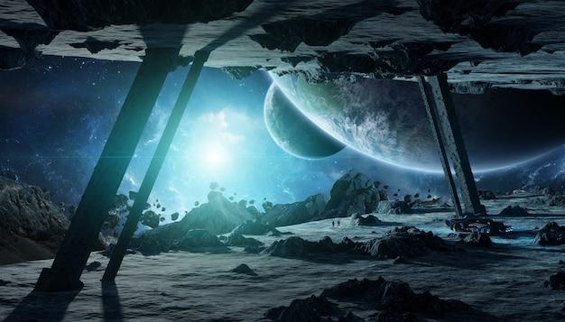 Astronautas explorando uma renderização 3d de nave espacial de asteróide Foto Premium