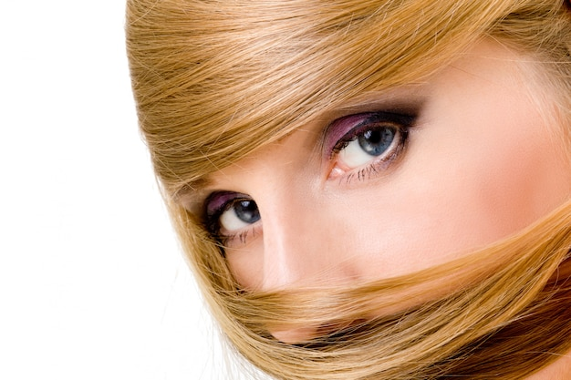 Atraente, mulher, sobre, fundo branco Foto Premium