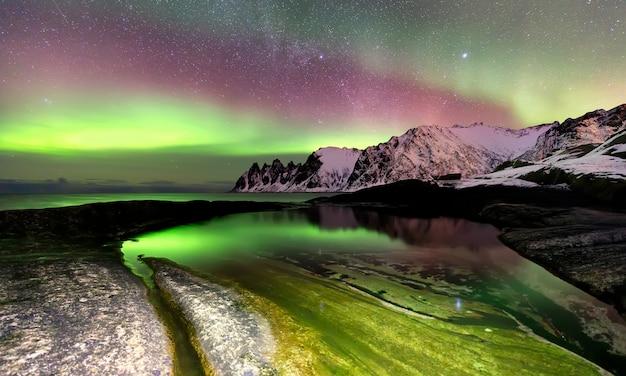 Aurora boreal sobre a praia de ersfjord e o mar da noruega. ilha de senja à noite, noruega, europa Foto Premium
