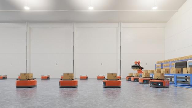 Automação de fábrica com agv e braço robótico em transporte para aumentar mais o transporte com segurança. Foto Premium