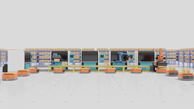 Automação de fábrica com agvs, impressoras 3d e braço robótico. Foto Premium