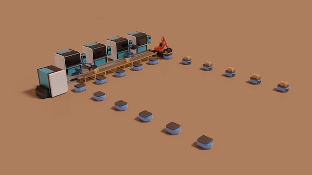 Automação de fábrica com veículo guiado automático e braço robótico. Foto Premium