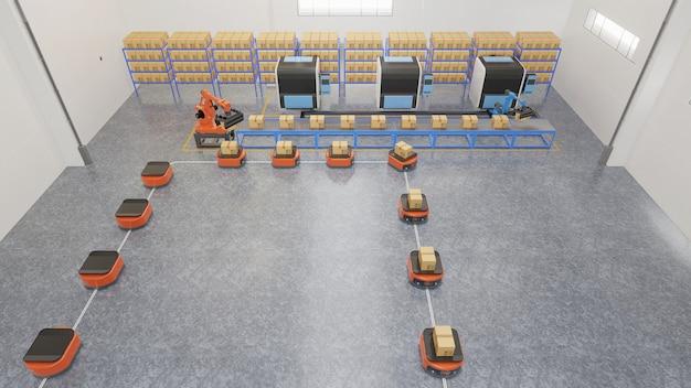 Automatização topview.factory com agv e braço robótico no transporte para aumentar o transporte mais com segurança. Foto Premium