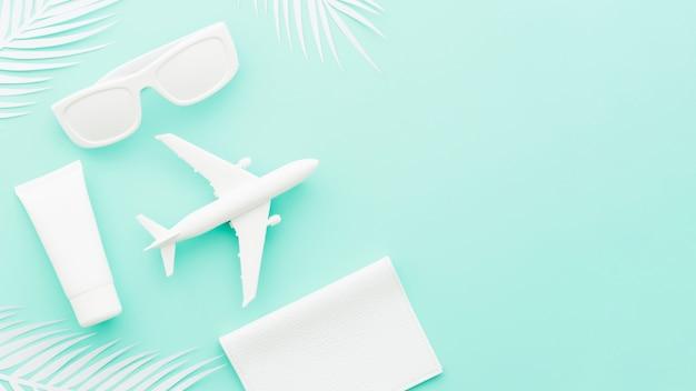 Avião de brinquedo pequeno com óculos de sol e folhas de palmeira Foto gratuita