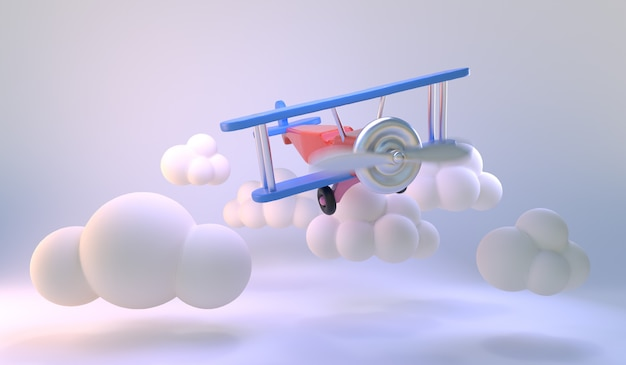 Avião de brinquedo voar no fundo da sala branca. formas mínimas de nuvens. luz de fundo pastel azul para promoção de produtos. ideia mínima. 3d render. Foto Premium