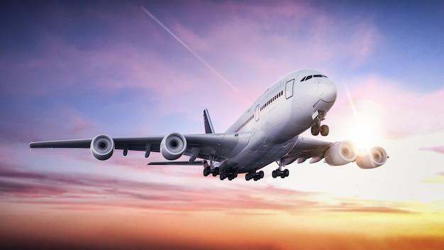 Avião decolando do aeroporto Foto Premium