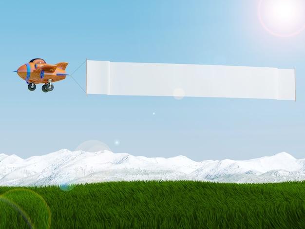 Avião dos desenhos animados, voando com banner de publicidade sobre o campo de grama, renderização em 3d Foto Premium