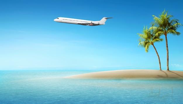 Avião voando acima do oceano Foto Premium