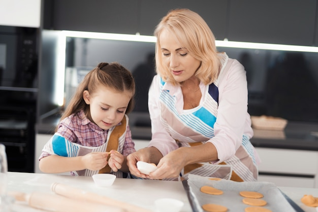 Avó ensina a neta a cozinhar Foto Premium