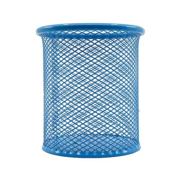 Azul da cor da cesta da pena isolado no fundo branco. Foto Premium