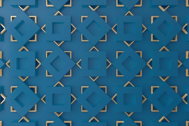 Azul e ouro parede 3d para plano de fundo, pano de fundo ou papel de parede Foto Premium