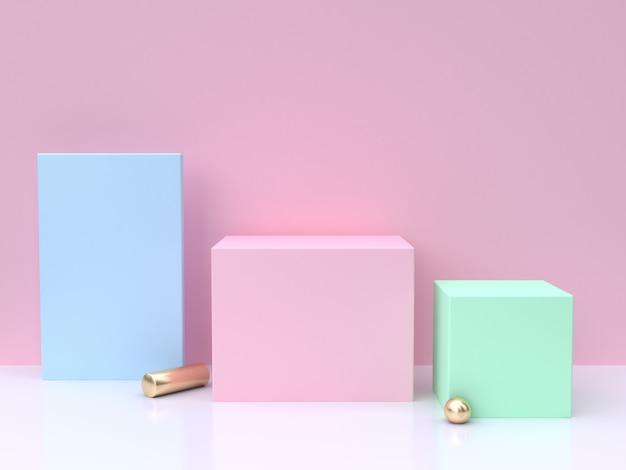 Azul rosa verde mínimo abstrato 3d render Foto Premium