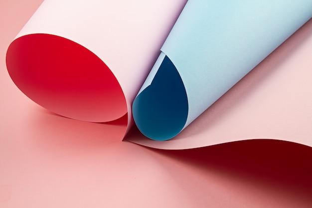 Backgroud abstrato de folhas de papel texturizado rolado de tons diferentes Foto Premium