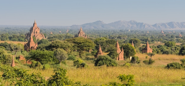 Bagan planície de templos antigos, myanmar Foto Premium