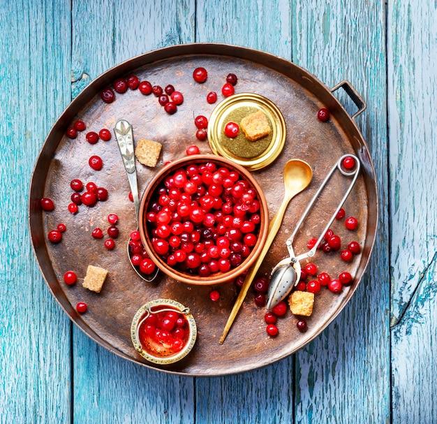 Bagas de cranberries para chá Foto Premium