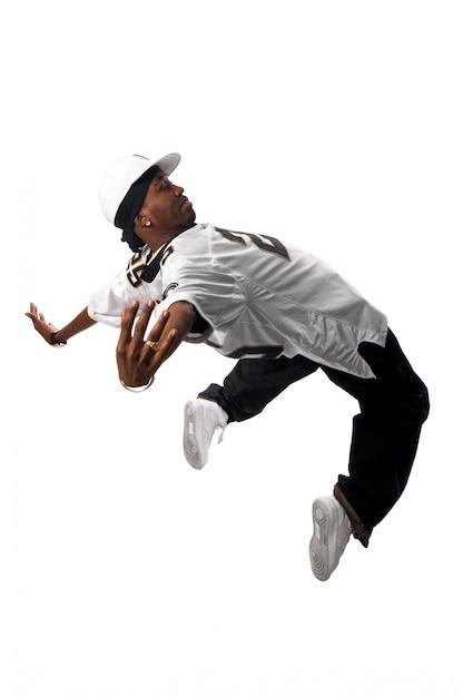 Bailarina jovem de hip-hop em branco Foto gratuita