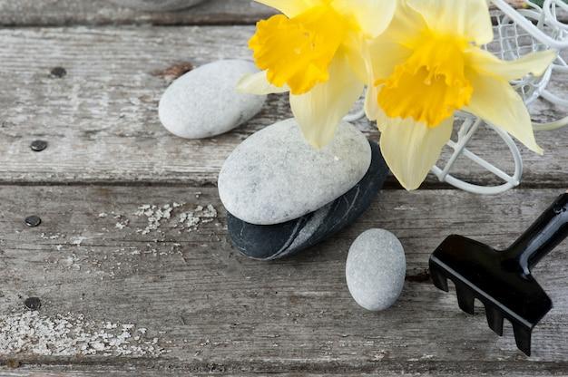 Balanceamento de pedras de seixo e flores amarelas Foto Premium