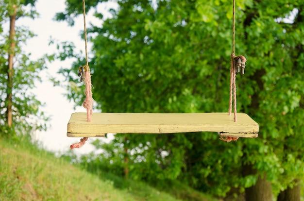 Balanço de corda de madeira iluminado pelo sol no parque Foto Premium
