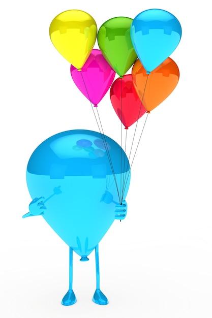 Balão azul que mantem balões coloridos Foto gratuita