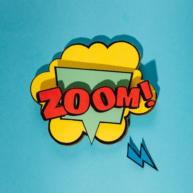 Balão de quadrinhos com zoom palavra sobre fundo azul Foto gratuita