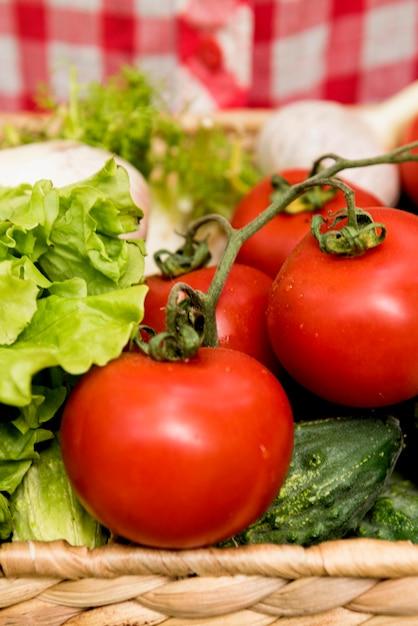 Balde de close-up com tomates e pepinos Foto gratuita