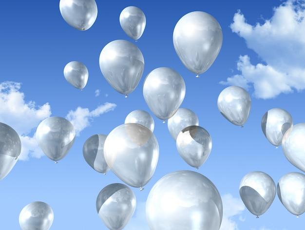 Balões de ar branco flutuando em um céu azul Foto Premium