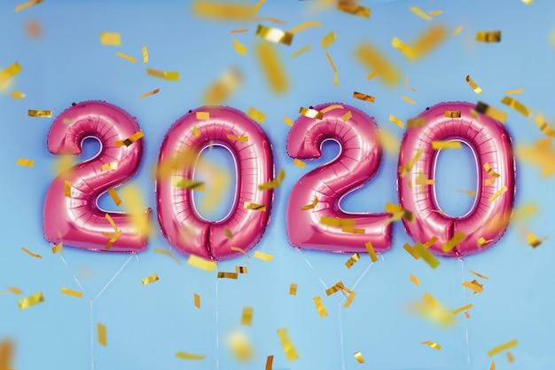 Balões de números de ano novo de 2020 de natal. celebração, feriado. Foto Premium